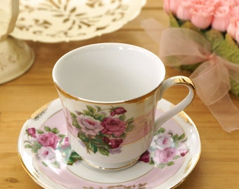 Vintage Pink Roses Tea Cup and Saucer, Gold Trim, Pink White and Gold, Green Leaves, Footed Tea Cup, Shabby Chic, Cottage Chic