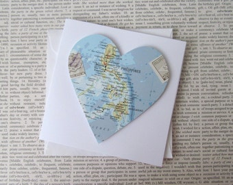 Philippines map greeting card: heart shaped card made from an original vintage map feat. Manila. Ideal for wedding, birthday, new home