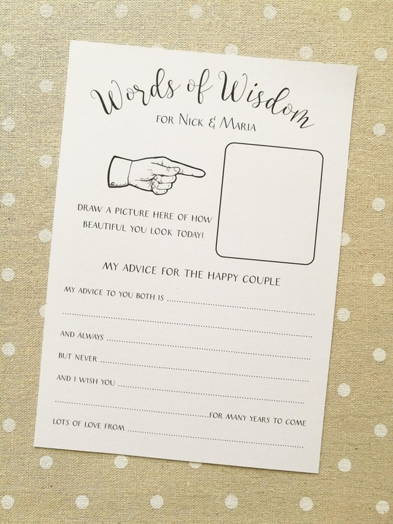 10 x personalised funny wedding advice cards guestbook