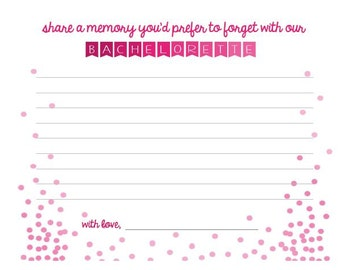 Bachelorette Memory Card | Party Goodies & Supplies