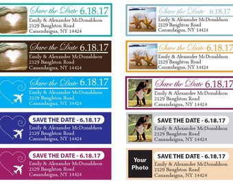Wedding Return Address Labels Destination Wedding Address Labels Save the Date Address Labels Personalize Colors Text Photo Qty 100