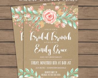 Rustic Bridal Brunch Invitation  Bridesmaid Brunch - Bridal - Wedding - Burlap - Flowers - Floral - Printable - Mint - Coral - Green - Peach