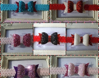 Baby/Toddlers/Girls/Dolls- Glitter Bows Mix colurs &  lace Headband Christmas edition