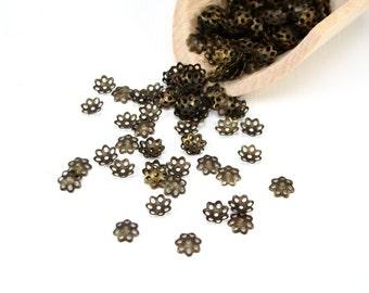 6x1mm flower beadcap antique brass, 7 petal flower bead cap, 6mm beadcap, antique gold bead caps, 6mm antique brass flower beadcaps (2759sf)
