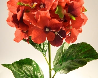 "Silk Hydrangea in Garnet Red -  32"" Tall"