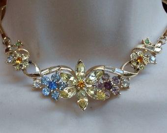 Coro Pastel Rhinestone Necklace, Adolph Katz Design, DES PAT. PEND.