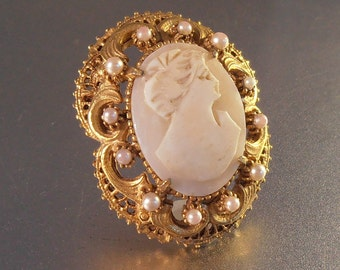 Florenza Cameo Brooch Pendant Combo Faux Seed Pearl Victorian Revival, Carved Shell