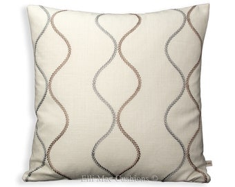 James Brindley Fabric Cushion Cover Designer Geometric Neutral Linen Sofa Throw Pillow