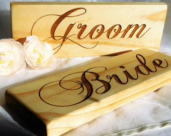 Bride and Groom chair signs, His and hers chair signs for the wedding, wedding signs, rustic wedding