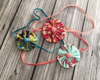 Yoyo flower headband, flower headband, baby headband