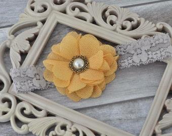 Mustard & Grey Lace Headband
