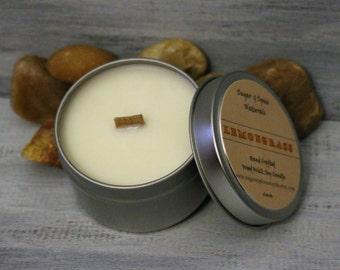 Lemongrass Wood Wick Soy Candle 6 oz tin Phthalate Free Fragrance, Dye Free