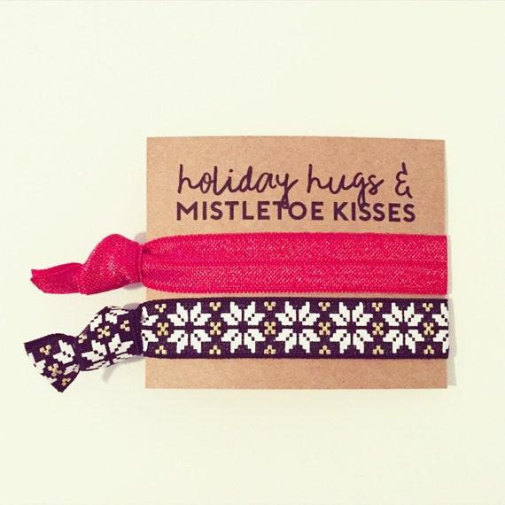 Holiday Hair Tie Gift Set | Red, Black + Gold Nordic Hair Tie Set, Christmas Hair Ties, Stocking Stuffer, Friends Girlfriends Teen Gift Idea
