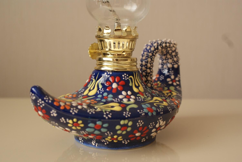 Handmade Ceramic Lamps : Handmade embossed ceramic alladdin lamp
