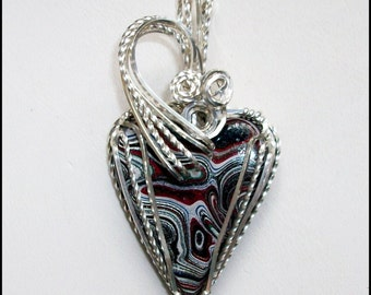 NEW Fordite Heart Pendant in Sterling Silver Wire
