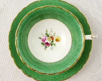 Vintage Tea Cup and Saucer Green with Flowers, by Cauldon, English Bone China