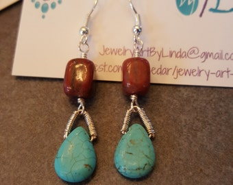 Turquoise and maroon stone earrings
