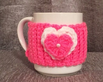 Valentine mug cozy with hearts, pink Valentine gift mug sweater with hearts- Valentine mug koosie with hearts  - Valentines gift mug cozy
