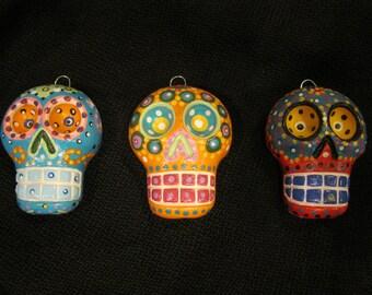 Clay Sugar Skull Ornaments