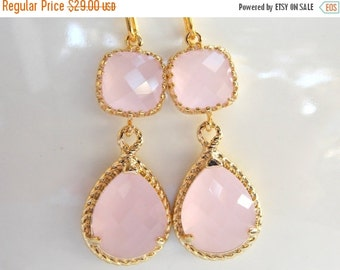 SALE Wedding Jewelry,Ice Pink Earrings,Soft Pink,Light Pink,Pale Pink,Blush Pink,Bridesmaid Jewelry, Bridesmaids Gifts, Gifts, Dangle, Gold,