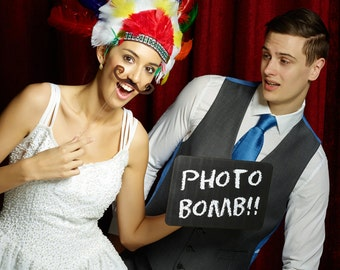 PHOTO BOMB- Top Quality Photobooth Prop Sign Printed Chalk Board 28cm  013-124