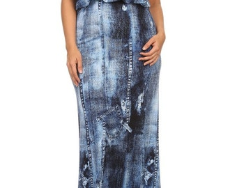 Short Sleeve Demin Print Maxi Dress