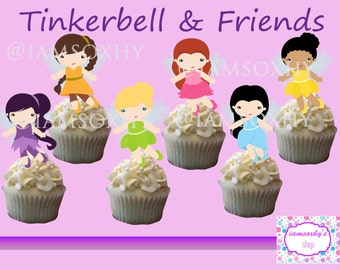 Tinkerbell and friends (Disney Fairies) Cupcake toppers