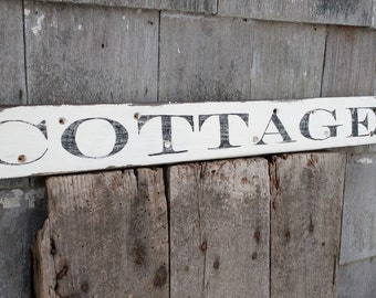 Shabby Cottage sign on salvaged barn wood hand-painted distressed rustic