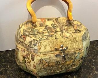 1960 wood box purse