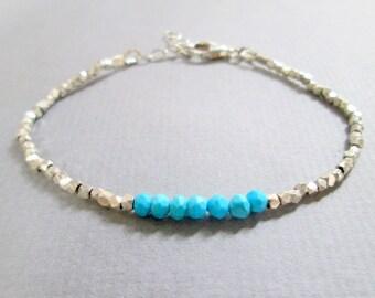 Turquoise Bracelet, Sleeping Beauty Turquoise Stacking Bracelet, Delicate Turquoise Silver Bracelet, Genuine Turquoise Layering Bracelet
