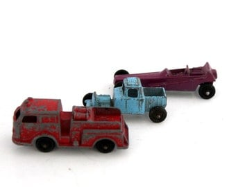Tootsie Toy Trucks, Die Cast, Wedge Dragster, Pumper, Blue Hot Rod Truck,  Vintage Lot of 3