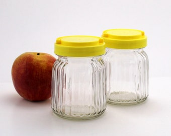 Ribbed Glass Storage Jars, Small Vintage Canisters, Country Farmhouse Kitchen Decor