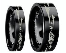 Star Wars Couples Wedding Bands, Star Wars Wedding Ring, Men's Gift, Star Space Battle Mens Tungsten Band, Mens Tungsten Ring,  Promise Ring