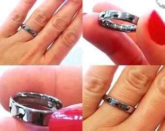 Tungsten Ring, Dinosaur Ring Raptor Velociraptor Ring, Prehistoric Paleo, Custom Engraved Tungsten Ring, Wedding Men Women Tungsten Bands