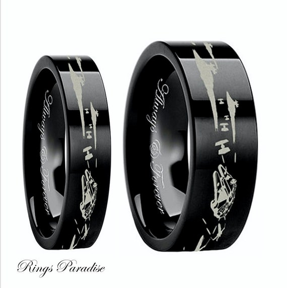 Star Wars Couples Wedding Bands Star Wars Wedding By RingsParadise