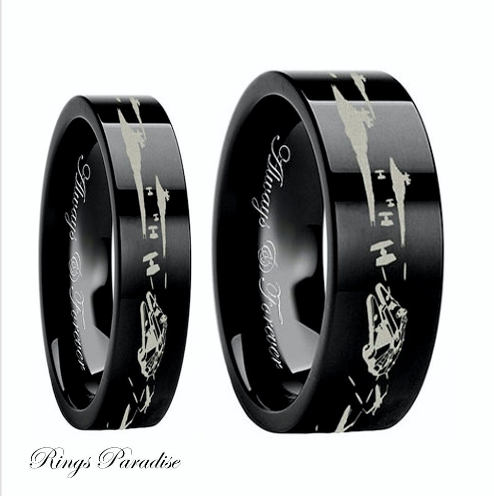 Star wars couples wedding bands star wars wedding by for Star wars wedding rings