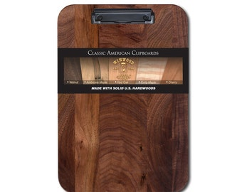 Walnut Clipboard with Low Profile Clip, Optionable Engraving, Free Shipping