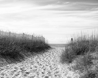 Black and White Beach Photography, Beach Decor, Ocean Art, Landscape, Sand, Sea Oats, Nature, Fine Art Print, Coastal Decor, Wall Art