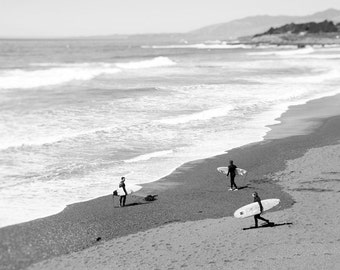 Beach Photography, Black and White, Surfers, California, Landscape, Surf, Coastal Decor, Summer, Pacific Coast, Fine Art Print, Wall Art