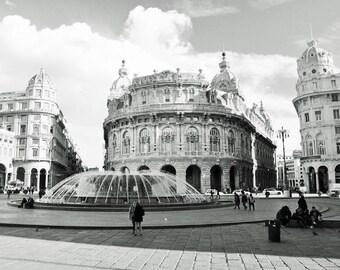 Black and White, Italy Photography, Europe, European City, Architecture, Piazza, Fountain, Travel, Genoa, Genova, wall art, photo print