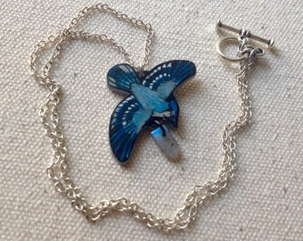 Hand Drawn Flying Blue Jay (Cyanocitta cristata) Charm Necklace (MADE TO ORDER)