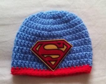 Crochet superman hat, baby superman hat, newborn superman hat, superman hat, baby shower hat, ready to ship