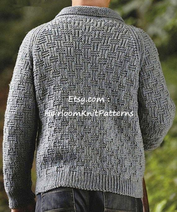 Men's Jacket Knitting Pattern Chunky/ Bulky Mens Knitting ...