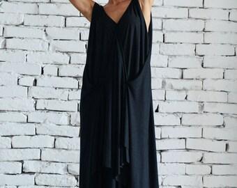 Loose Maxi Black Dress / Oversize Draped Maxi Dress / Casual Asymmetric Dress / Long Black Summer Dress by METAMORPHOZA