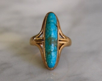 Antique Art Nouveau Natural Turquoise Navette 14K Gold Ring
