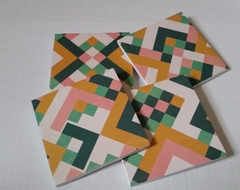 Set of Four Multi-Colored Aztec Coasters / Ceramic Coasters / Aztec Coasters