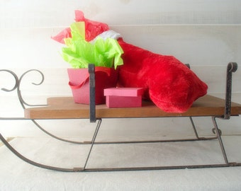 Outdoor Christmas Decoration, Wood and Metal Christmas Sleigh Decor, Large Wooden Sleigh