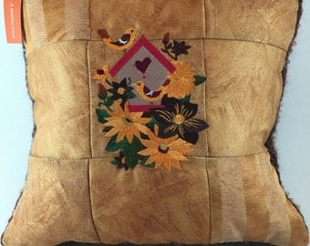 EMBROIDERED 9 PATCH decorative pillow made with recycled sample book material