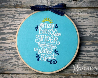 "Glow in the Dark Tread! Embroidered Itsy Bitsy Spider Nursery Rhyme 5"" Embroidery Hoop"