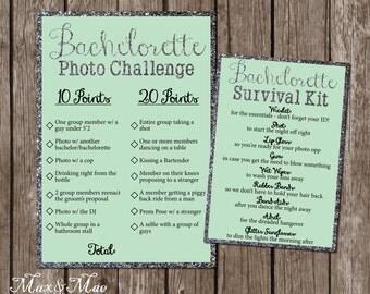 Bachelorette Party Games, Bachelorette Photo Challenge, Bachelorette Survival Kit Sign, Wedding Shower Games, Digital, Printable